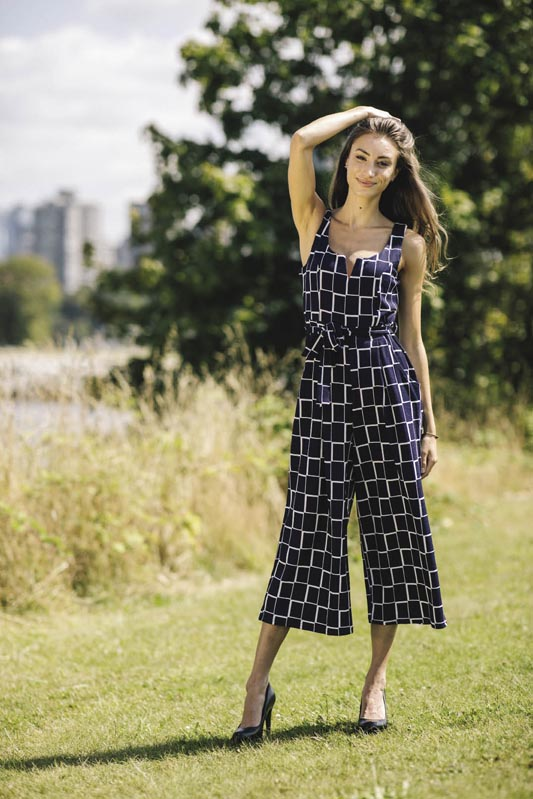 PP-07815 - Check Stretch Jumpsuit with Pockets